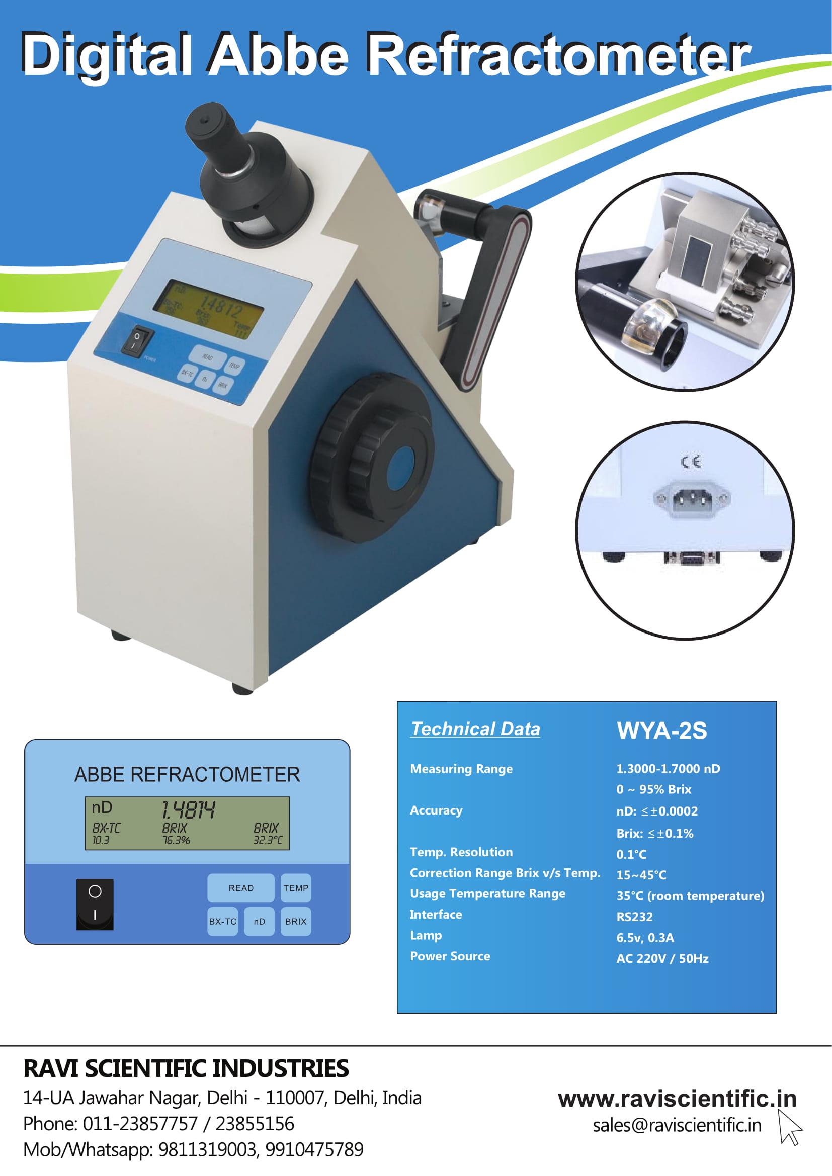 Digital Abbe Refractometer WYA-2S Pamphlet