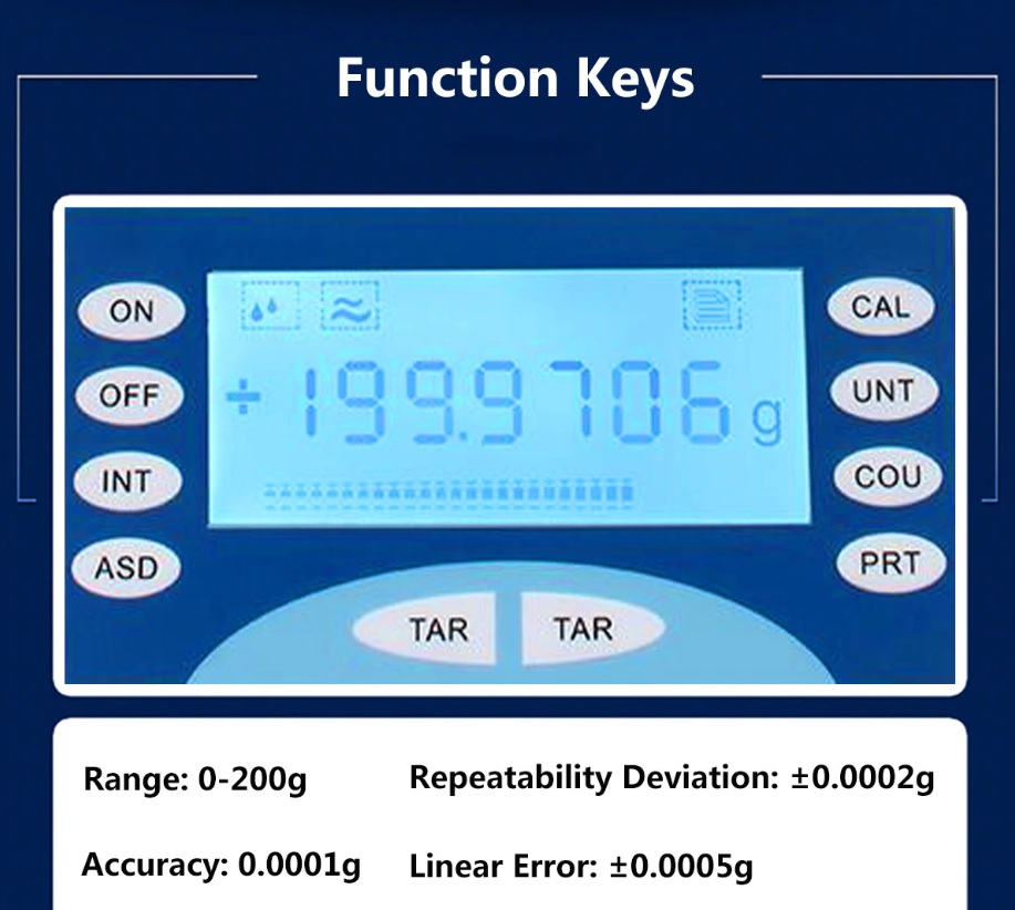 Analytical Weighing Scale display with functions