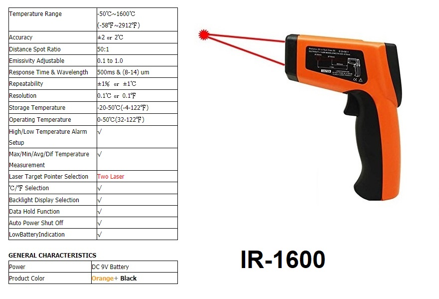 Infrared Thermometer 1600°C 1